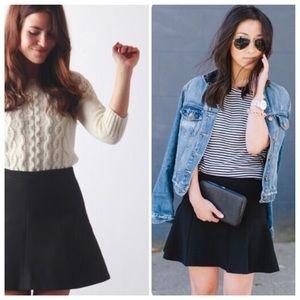 j. crew // fluted crepe black mini skirt a-line